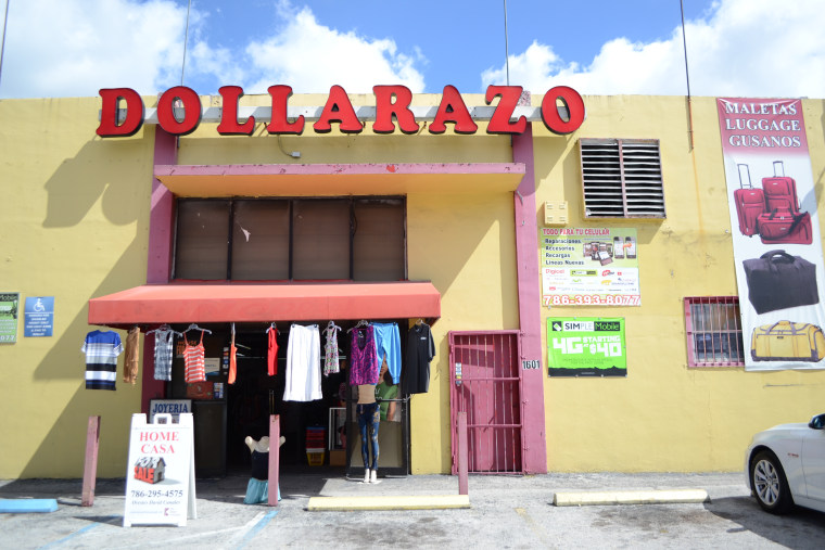 "The ""Dolarazo"" store in Hialeah, Florida which sells clothing and other items popular with Latinos."