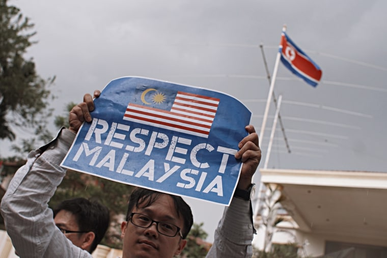 Image: Malaysians protest outside the North Korean Embassy in Kuala Lumpur.
