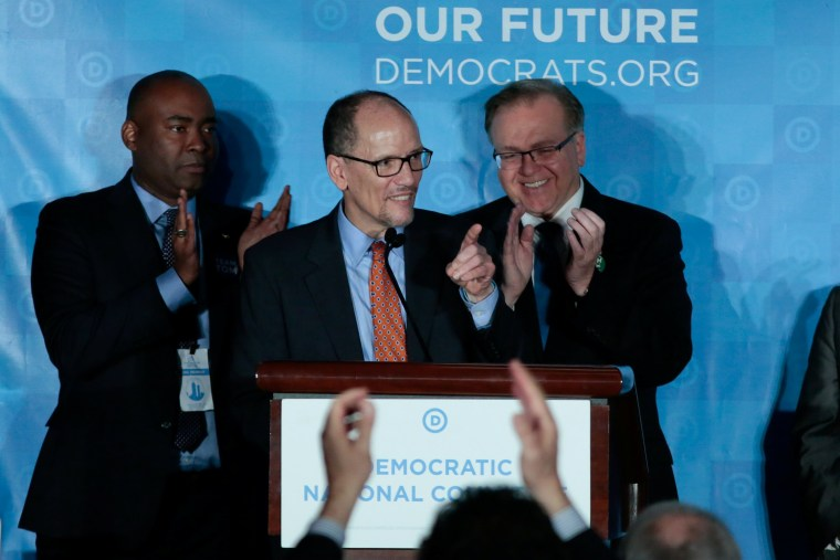 Image: Tom Perez addresses the audience after being elected Democratic National Chair during the Democratic National Committee winter meeting in Atlanta