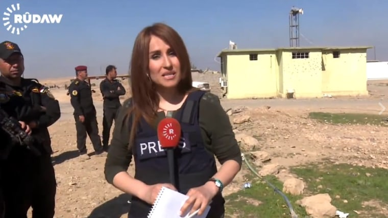 This screengrab from a Rudaw broadcast shows journalist Shifa Gardi, who was killed by a roadside bomb while covering an offensive to retake the Iraqi city of Mosul from ISIS fighters on Feb. 25, 2017.
