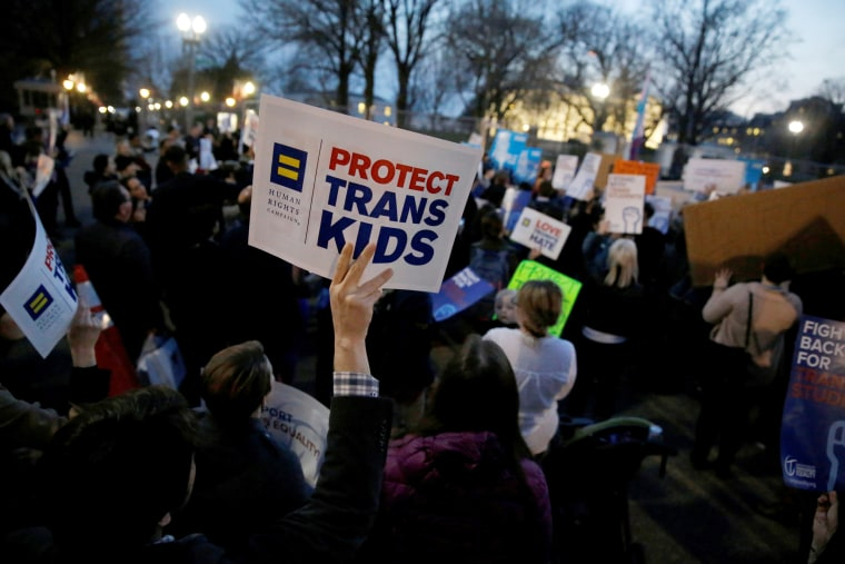 Transgender activists and supporters protest near the White House in Washington
