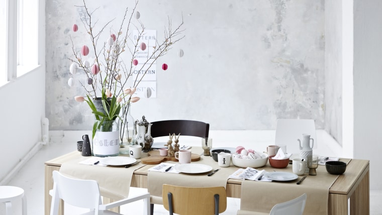 Easter brunch table with variety of chairs