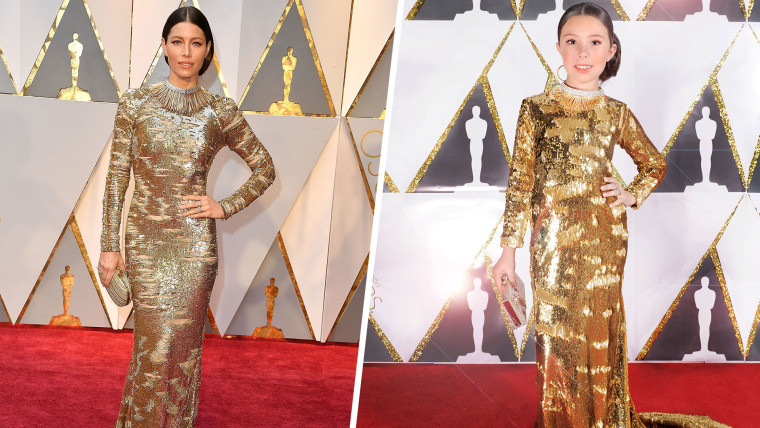 Mini Jessica Biel's Toddlewood Oscars look