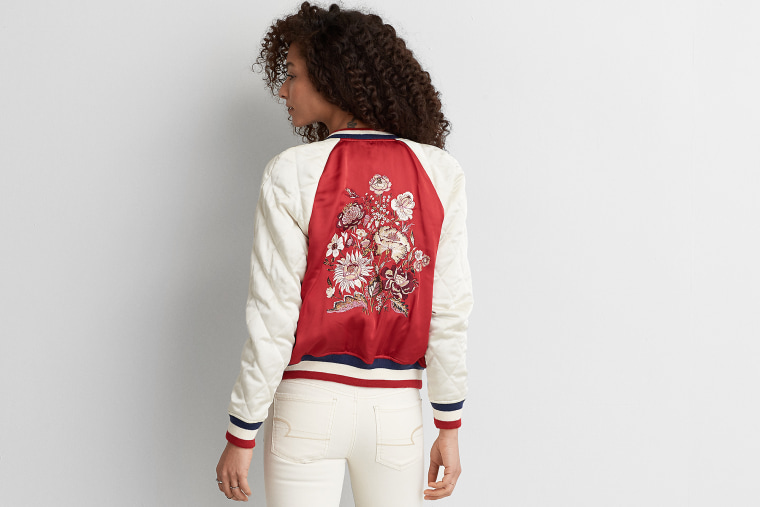 Embroidered Raglan Bomber Jacket