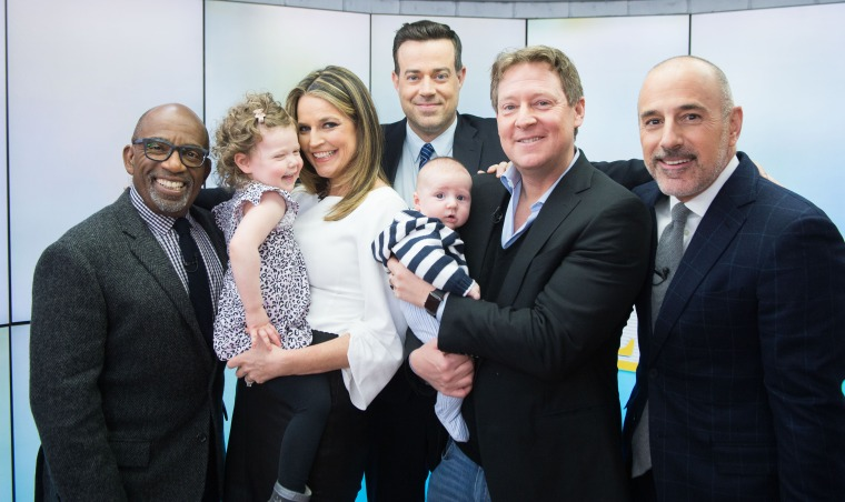 The gang's all here: Al Roker, Savannah Guthrie, Carson Daly, Mike Feldman, Matt Lauer and little ones, Vale and Charley.