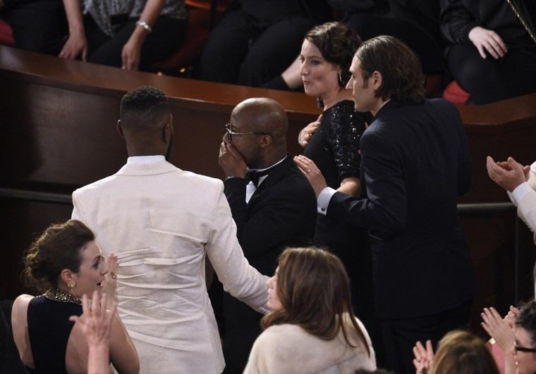 "Image: Barry Jenkins reacts as ""Moonlight"" is announced as the true winner of best picture at the Oscars"