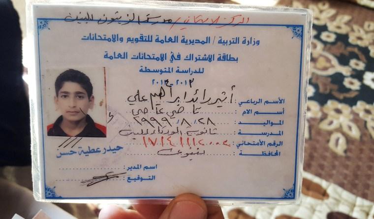 Image: The ID card/childhood photo of teenage ISIS militant Atheer Ali