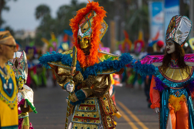Image: Revelers perform during a carnival parade in Santo Domingo, Dominican Republic, on Feb. 25, 2017.