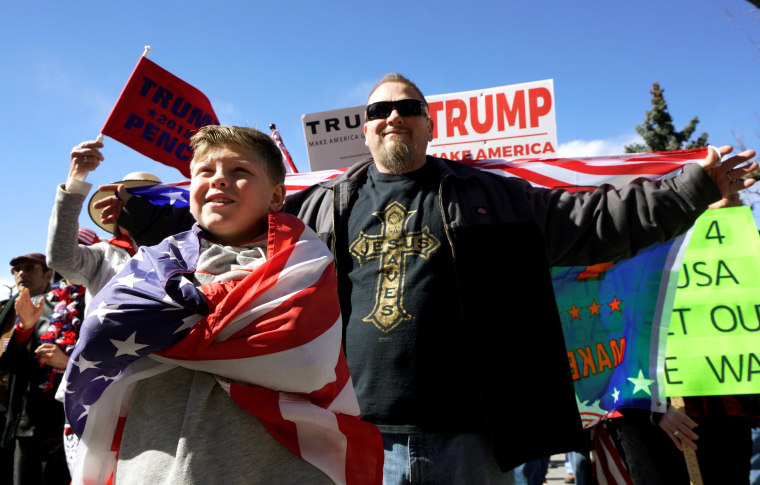 "Image: Supporters of U.S. President Donald Trump attend a ""Spirit of America"" rally in Denver"