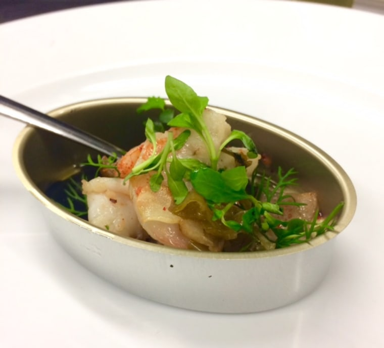 Iberico Florida rock shrimp, spicy squid ink, mushroom pil pil and herbs by Chef Alex Raij.