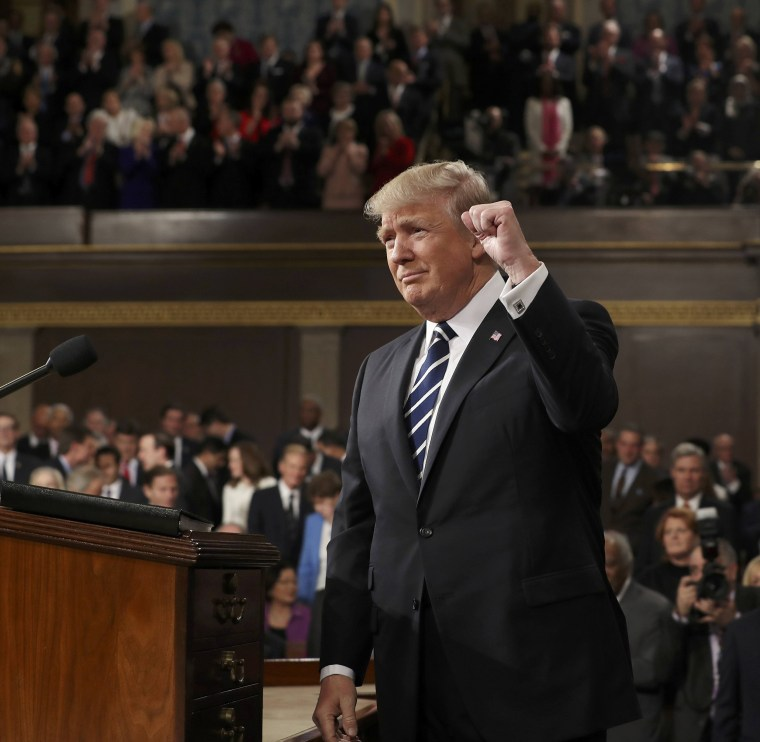 Image: US President Donald J. Trump arrives to deliver his first address to a joint session of Congress from the floor of the House of Representatives in Washington