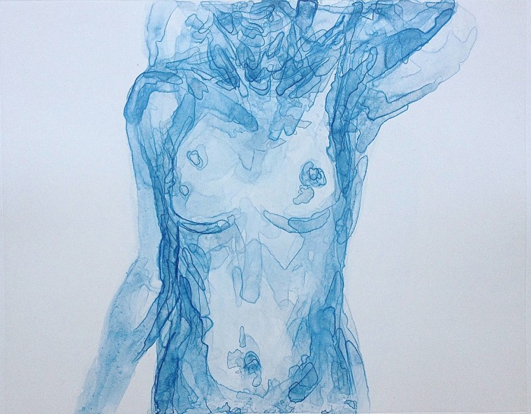 """Body in Blue I,"" a watercolor painting included in Kate Arthur's ""Body Portraits"" series"