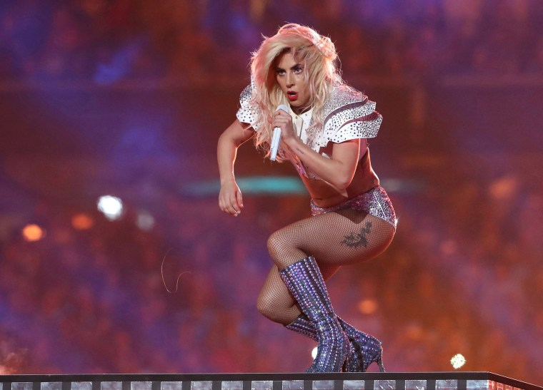 Image: Singer Lady Gaga performs during the halftime show at Super Bowl LI between the New England Patriots and the Atlanta Falcons in Houston