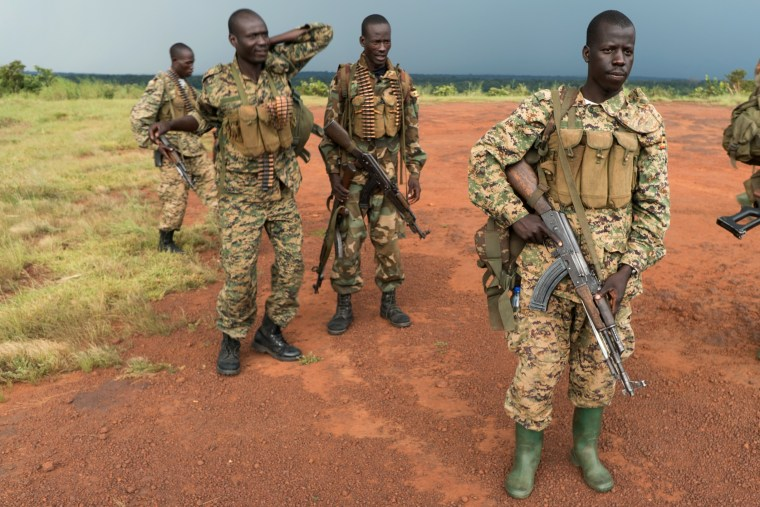 Image: Soldiers from the UPDF gather for a post-mission briefing in Obo, Central African Republic
