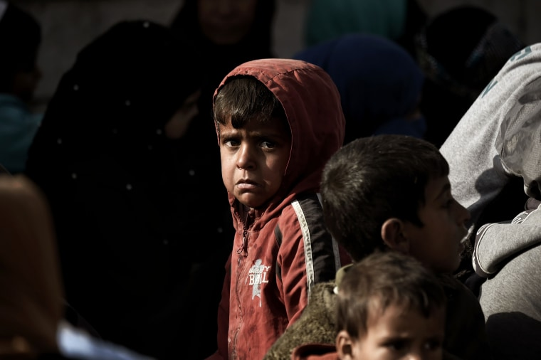 Image: Displaced Iraqis flee the city of Mosul