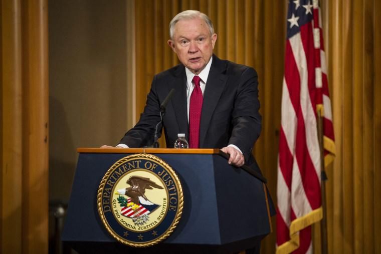 Image: Sessions delivers remarks at the Justice Department