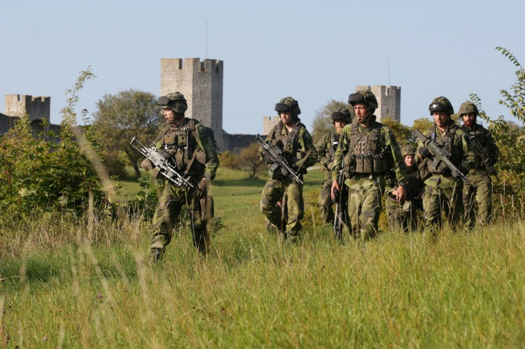 Image: Swedish military patrol outside Visby, island of Gotland