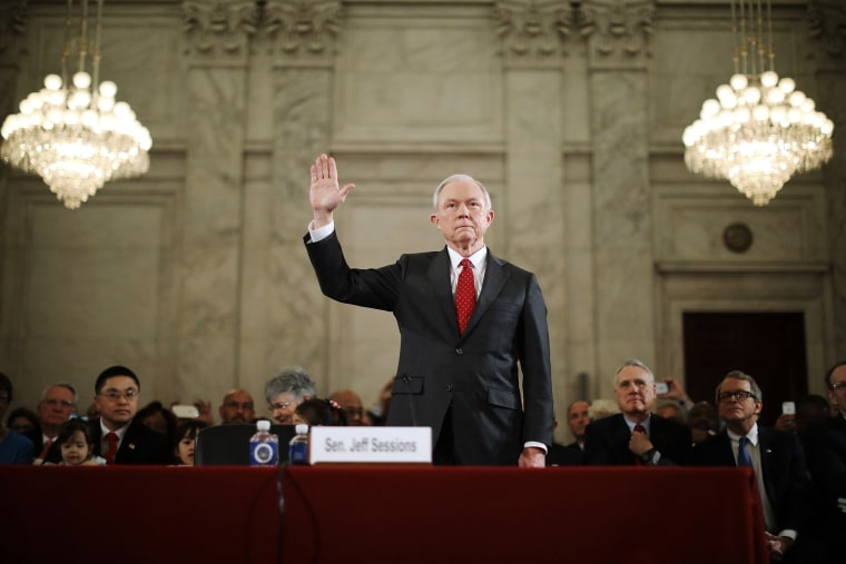 Image: Sen. Jeff Sessions is sworn in before the Senate Judiciary Committee