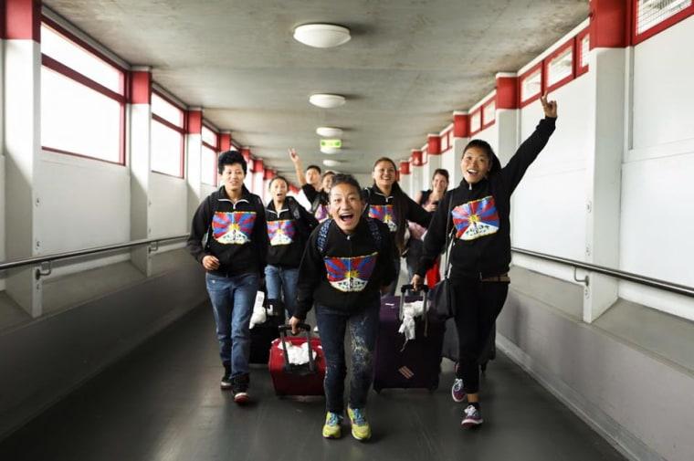 Members of a team fielded by Tibet Women's Soccer.