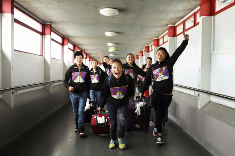 Members of a team fielded by Tibet Women's Soccer, which was denied a visa to visit the United States last week.