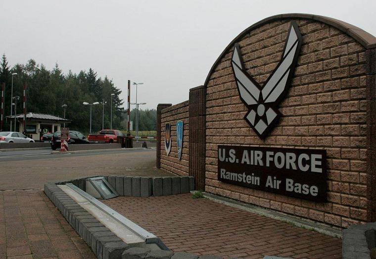The main gate of U.S. Ramstein Air Base in Ramstein, Germany