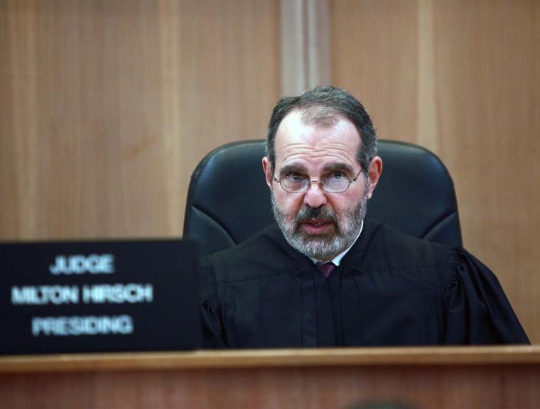 Image: Judge Milton Hirsch speaks at a hearing