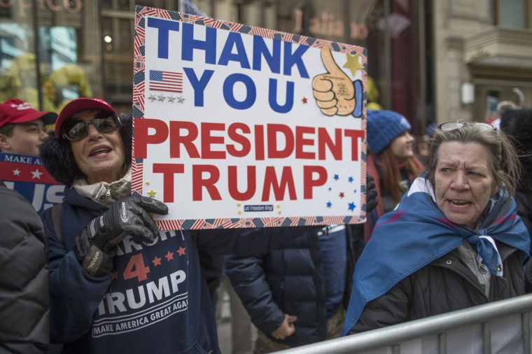 Image: Supporters of President Donald Trump chant slogans during a March 4 Trump rally on Fifth Avenue near Trump Tower, March 4, 2017, in New York.