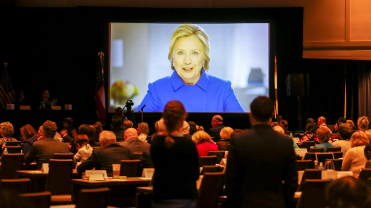 Image: Former U.S. Democratic presidential nominee Hillary Clinton delivers a videotaped address during the Democratic National Committee (DNC) Winter Meeting in Atlanta, Georgia,  Feb. 24, 2017.