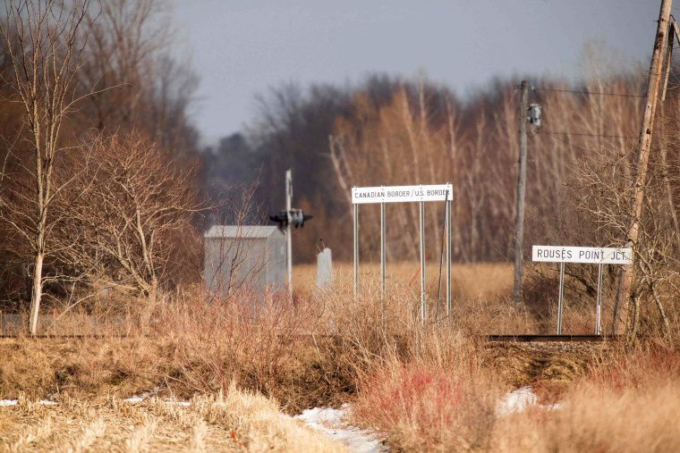 Image: The Canadian-U.S. border near Hemmingford, Quebec, is seen on Feb. 26.