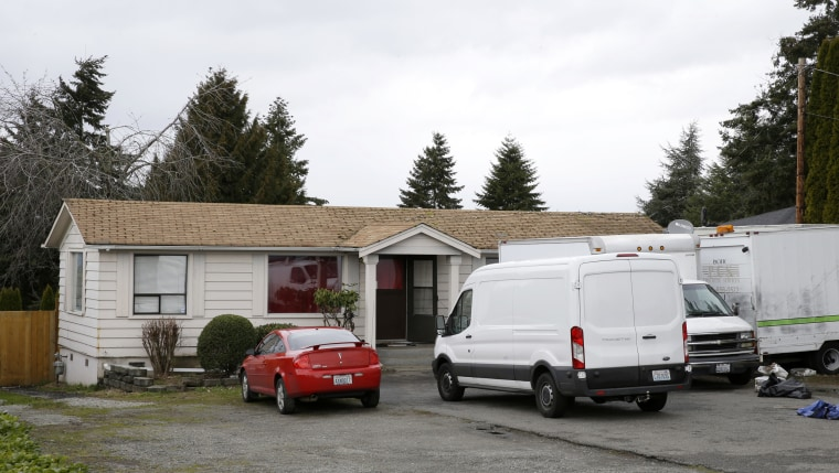 Image: Vehicles sit parked Sunday, March 5, 2017, at the home and driveway where a Sikh man was shot in the arm Friday, March 3, 2017, in Kent, Washington.