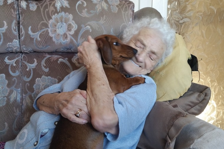 Grandma with alzheimer's befriends dachsund puppy