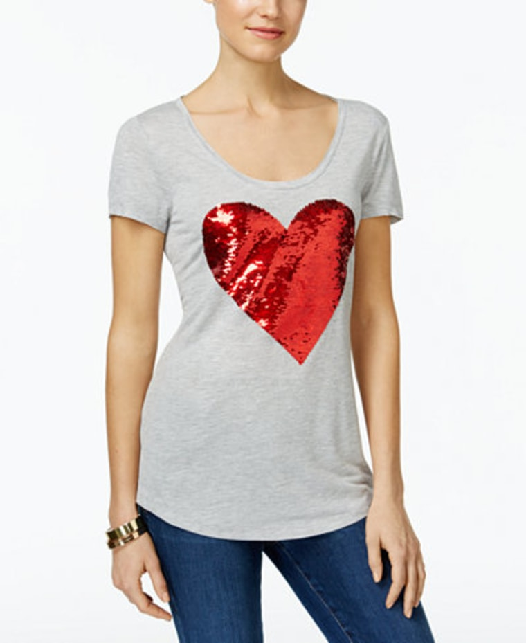 INC reversible sequined heart t-shirt