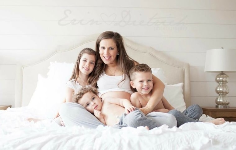 Erin Dietrich with her children Brynn, 7, Landon, 4, Blake, 2, and Porter, in utero.