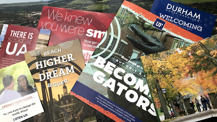 "So many college brochures... Just say ""yes"" already."
