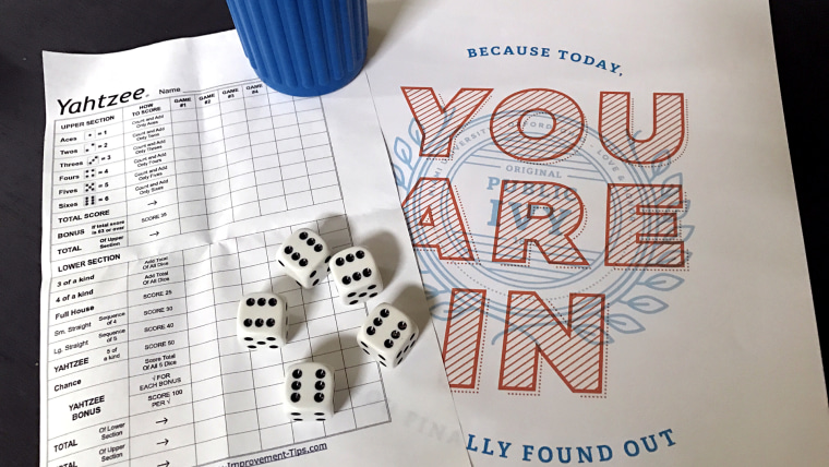 Waiting for colleges to say your kid is accepted is like waiting to roll the perfect Yahtzee!