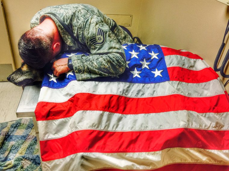 Air Force sergeant Kyle Smith says his final farewell to his partner Bodza.