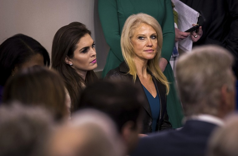 Image: Kellyanne Conway attends the White House press briefing