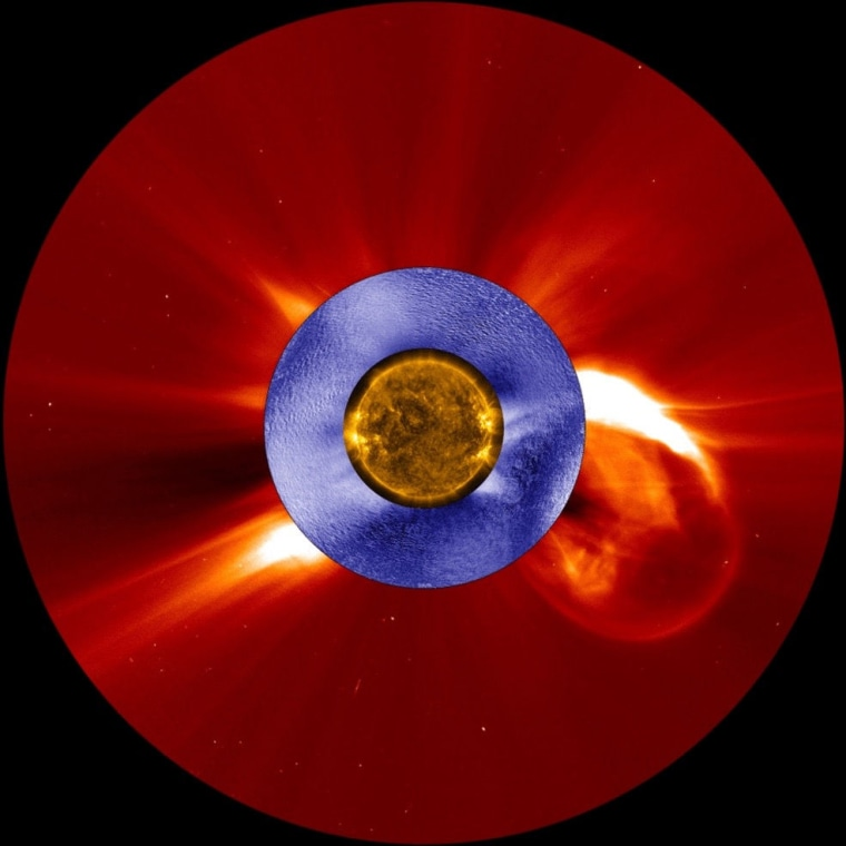 A composite image of a coronal mass ejection as seen from NASA's Solar Dynamics Observatory spacecraft (gold), the ESA/NASA Solar and Heliospheric Observatory (red), and the Mauna Loa Solar Observatory's K-Cor coronagraph (blue).