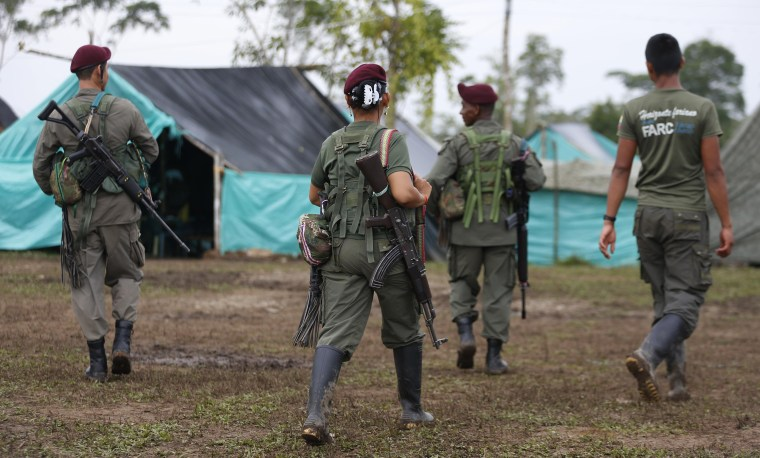 Revolutionary Armed Forces of Colombia, FARC, rebels walk in their camp in La Carmelita near Puerto Asis in Colombia's southwestern state of Putumayo, Tuesday, Feb. 28, 2017.