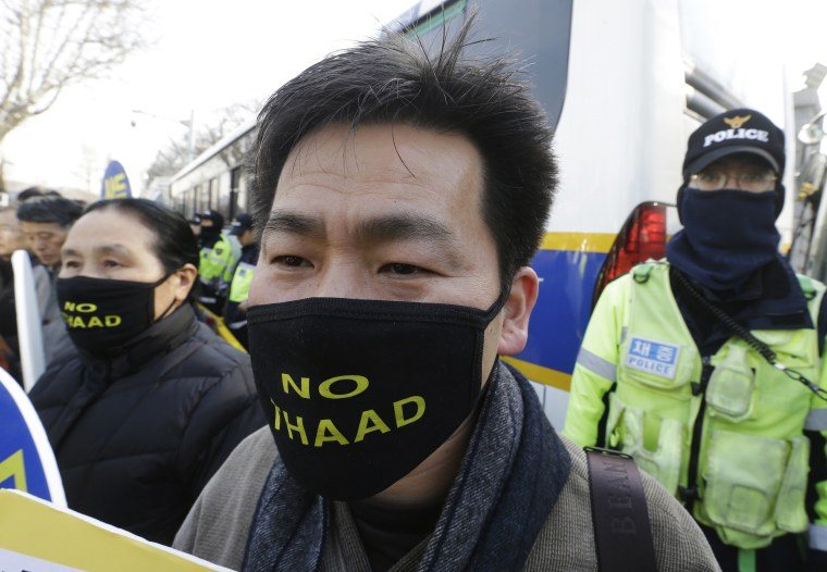 Image: South Korean protesters attend a rally to oppose a plan to deploy an advanced U.S. missile defense system