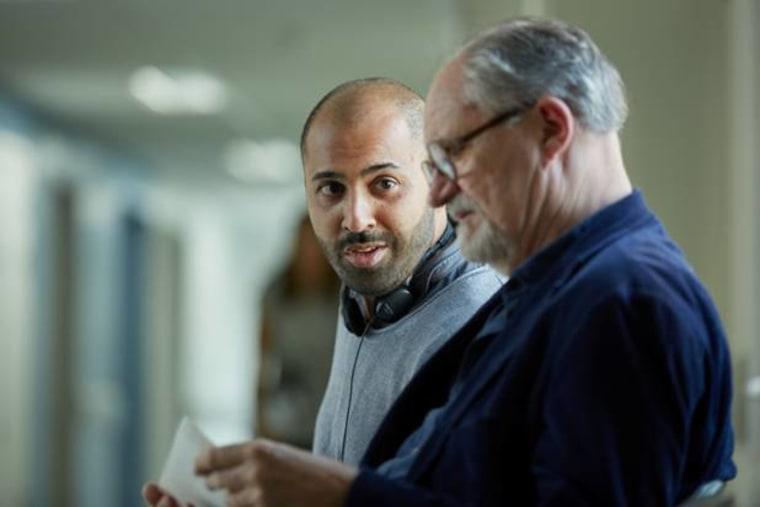 Director Ritesh Batra (left) at work with actor Jim Broadbent.