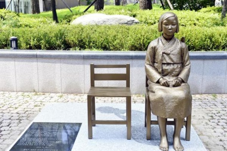A mock up of a Georgia comfort women memorial, modeled after an existing memorial in Seoul.