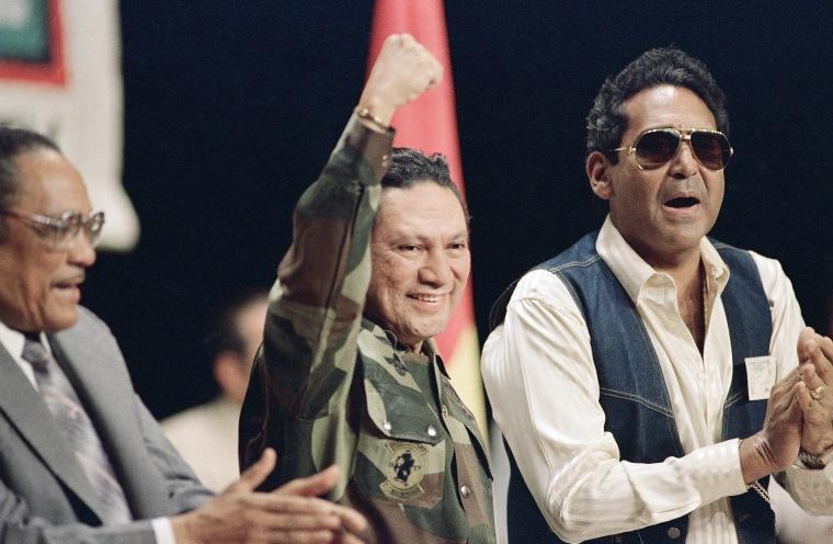 Image: General Manuel Antonio Noriega acknowledges a cheering crowd at a Solidarity With Panama conference in Panama City