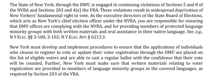 An excerpt of a letter sent to the New York State Beard of Elections detailing alleged violations of the Voter Rights Act and the National Voter Registration Act.