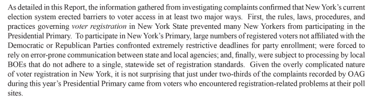 An excerpt of a report by the New York State attorney general's office detailing obstructions to voting in the state's 2016 presidential primaries.