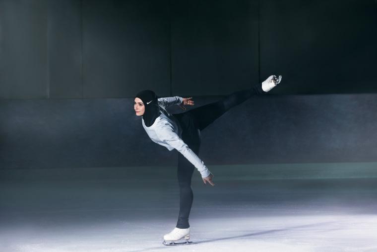 Zahra Lari, a figure skater from the UAE, wearing the Nike Pro Hijab.