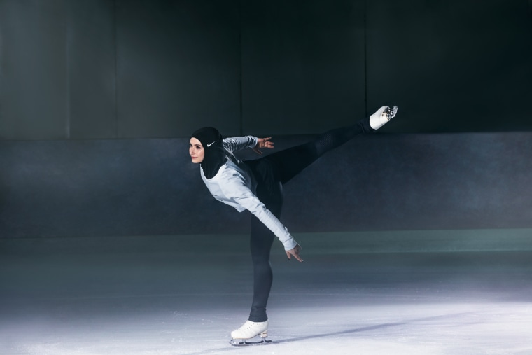 Zahra Lari, a figure skater from the UAE, wearing the Nike Pro Hijab.