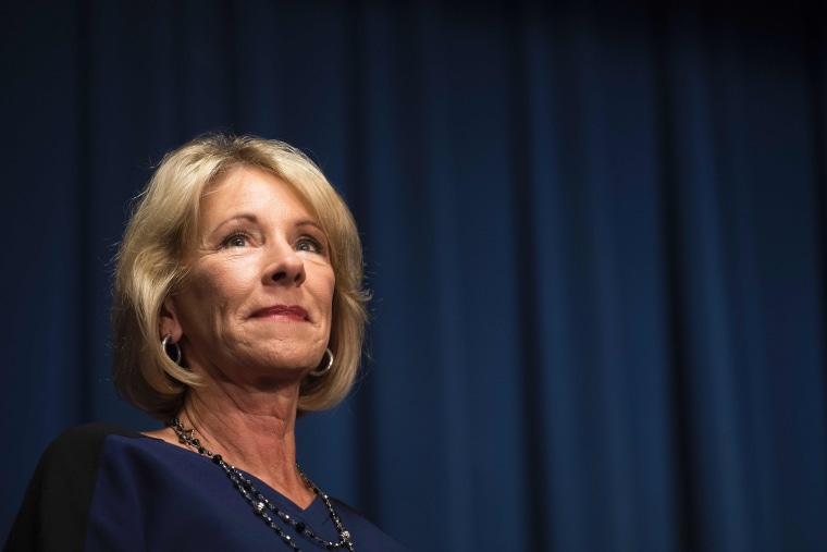 Image: DeVos delivers remarks to staff of the Education Department