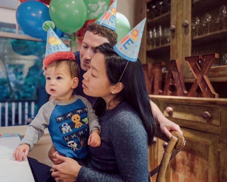 Mark Zuckerberg and his wife, Priscilla Chan, celebrate daughter Max's first birthday in 2016.