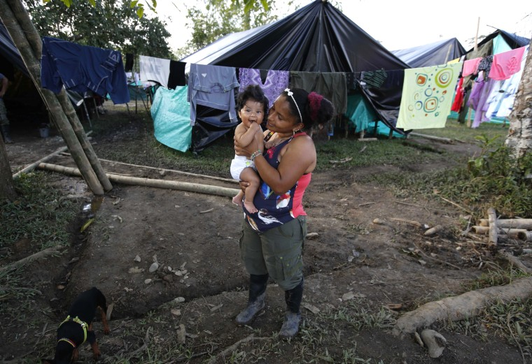 Image: FARC rebel Sandra Saez holds her 4-month-old daughter Manuela outside her tent at a rebel camp